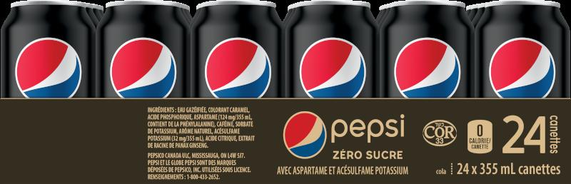 Pepsi Zéro Sucre 24 x 355 mL